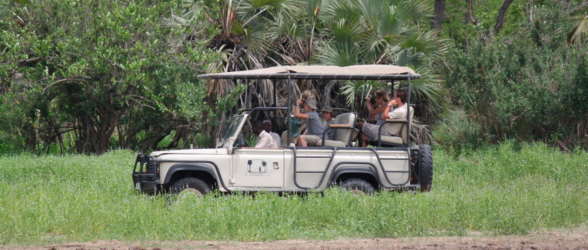 Game drive at Lake Manze Camp in Selous Game Reserve