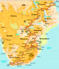 Map Rovos train Dar es Salaam Cape Town